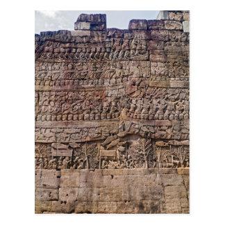Wall Carving Art Scene, Bayon Temple, Siem Reap Postcard