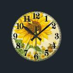 """Wall clock<br><div class=""""desc"""">Sunflowers and bird</div>"""