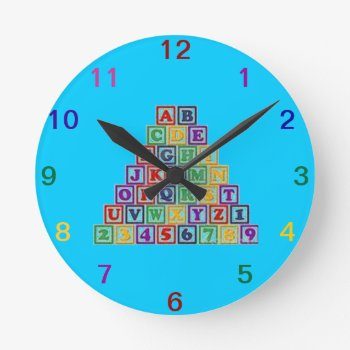Wall Clock Baby Blocks by creativeconceptss at Zazzle