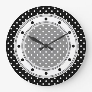 Wall Clock Black and White Polka Dot