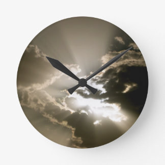 Wall Clock - Black and White Sky