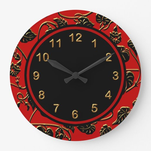 Wall clock black red gold trim damask floral zazzle for Red and black wall clock