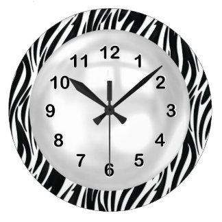 Wall Clock Black White Zebra Stripe