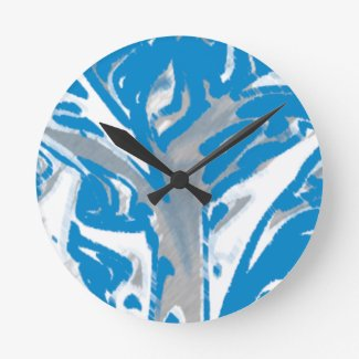 Wall Clock Blue Tree Cubebric