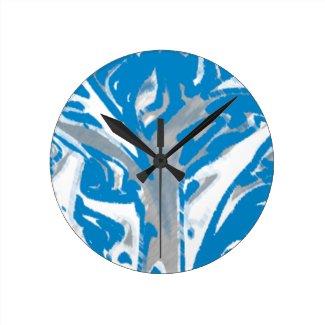 Wall Clock Blue Tree Cubebric