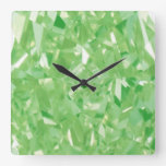 Wall Clock by Janz Square Green Diamonds