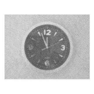 Wall Clock Canvas Sketch on Horizontal Postcard