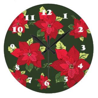 Wall Clock Christmas Flowers