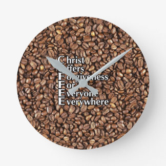 Wall Clock COFFEE Beans Christ Offers Forgiveness