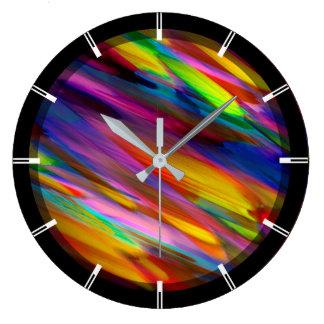Wall Clock Colorful digital art splashing