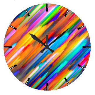 Wall Clock Colorful digital art splashing G391