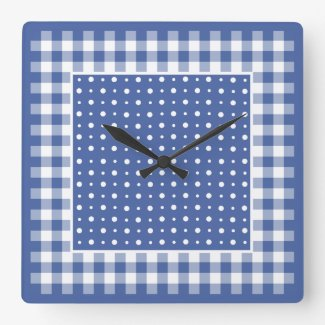 Wall Clock, Dark Blue Polka Dots, Check Gingham