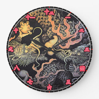 Wall Clock Dragons Temple Japanese Kanji Numerals