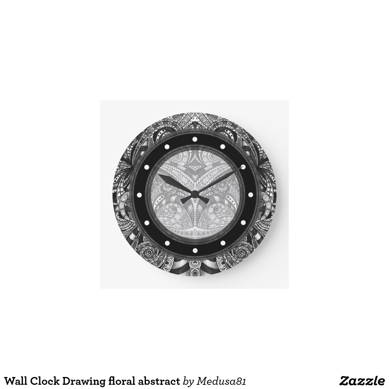 Wall Clock Drawing floral abstract | Zazzle