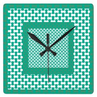 Wall Clock, Emerald Green Geometric Pattern