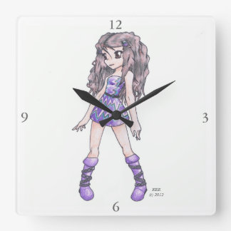 Wall Clock featuring Girl in Purple Dress w/ Boots