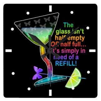 WALL CLOCK - GLASS HALF FULL