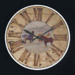 "Wall Clock Horse and Foal Western Rustic Clock<br><div class=""desc"">Horse and Foal Western Rustic Clock. Roman Numerals. Totally awesome,  beautiful. Photography by Amanda Smith,  Western Photographic Artist and Wyoming Photographer.</div>"