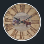 """Wall Clock Horse and Foal Western Rustic Clock<br><div class=""""desc"""">Horse and Foal Western Rustic Clock. Roman Numerals. Totally awesome,  beautiful. Photography by Amanda Smith,  Western Photographic Artist and Wyoming Photographer.</div>"""