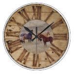 Wall Clock Horse and Foal Western Rustic Clock