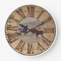 Wall Clock Horse and Foal Western Rustic Clock