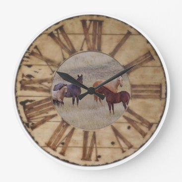TogetherWestDesigns Wall Clock Horse and Foal Western Rustic Clock