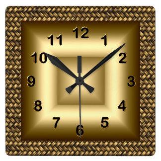 Wall Clock Metal Look Black Bronze Gold 2