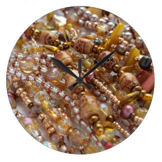 Wall Clock- Natural Earthtones, Bronze Beads Print Large Clock