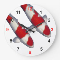 Wall clock of brocade carp of crimson white, No.02