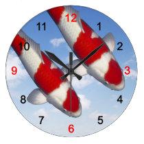 Wall clock of brocade carp of crimson white, No.07