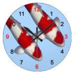 Wall clock of brocade carp of crimson white, No.12