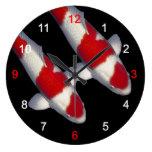 Wall clock of brocade carp of crimson white, No.13