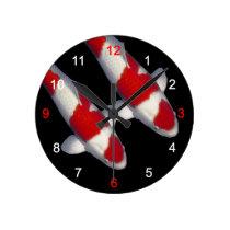 Wall clock of brocade carp of crimson white, No.15