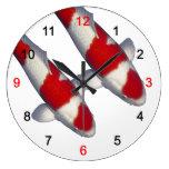 Wall clock of brocade carp of crimson white, No.2