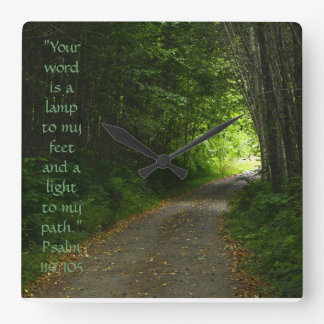 Wall Clock, Path in the Woods, w/Scripture Verse