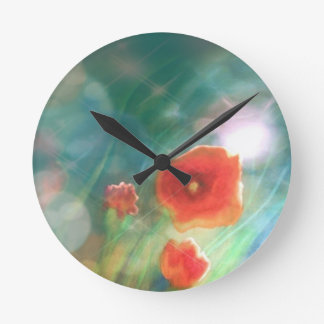 Wall Clock Poppy Flower Grassland Turkise Painting