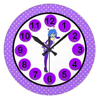 Wall Clock Purple Girls Fairy Polka Dots