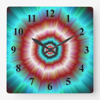 Wall Clock   Red and Blue Exploding Doughnut