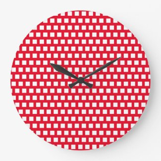 Wall Clock Red N White