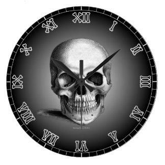 Wall Clock Skull Bones Skeleton Numerals Gothic