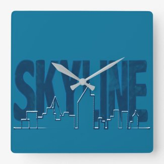 Wall Clock Skyline Blue