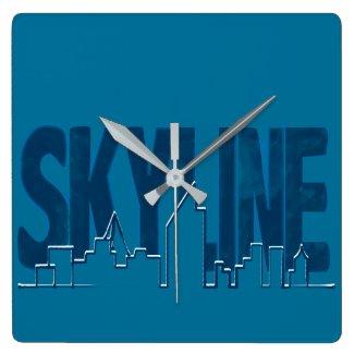 Wall Clock Skyline Blue