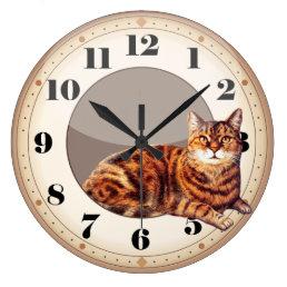 Wall Clock Smart Cat Lying