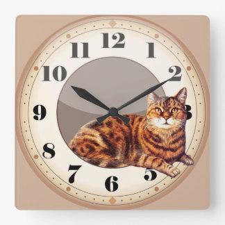Wall Clock Smart Cat Lying