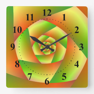 Wall Clock  Spiral in Yellow Orange and Green