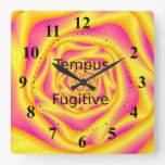 Wall Clock  Spiral Rose in Yellow and Pink