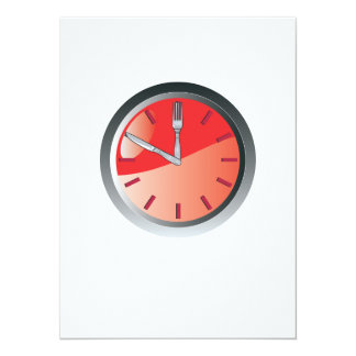 wall clock spoon and fork eating time custom invites