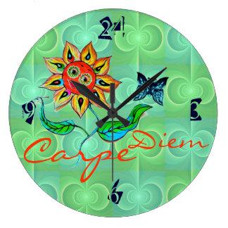 Wall Clock Sunflower Carpe Diem Change text