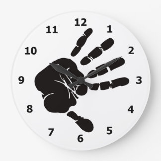 Wall Clock with Black Hand Print