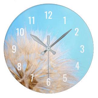 Wall Clock with dandelion flower on blue sky